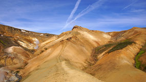 Kerlingarfjöll green mountain. Kerlingarfjöll panorama picture of ryholiet coloured steaming mountains and green mos in summer in Iceland stock photo