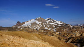 Kerlingarfjöll mountain view. Kerlingarfjöll view of mountains still covered in snow in summer in Iceland stock images