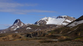 Kerlingarfjöll mountains view. Kerlingarfjöll view of mountains still covered in snow in summer in Iceland royalty free stock photo