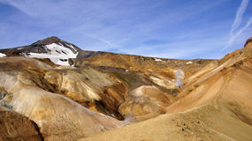 Kerlingarfjöll panorama green mountain. Kerlingarfjöll panorama picture of ryholiet coloured steaming mountains and green mos in summer in Iceland stock photography