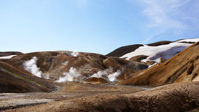 Kerlingarfjöll steam out of mountain. Kerlingarfjöll panorama picture of chocolate coloured mountains where the hot steam is bursting out in summer in royalty free stock photo