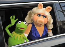 Kermit the Frog & Miss Piggy. LOS ANGELES, CA - MARCH 11, 2014: Muppets' characters Kermit the Frog & Miss Piggy at the world premiere of their movie Disney's stock photo