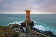 Kermorvan-Leuchtturm, Le Conquet, Bretagne, Frankreich stockfotografie