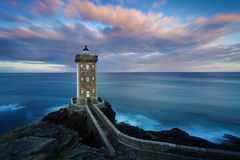 Kermorvan lighthouse, Le Conquet, most western part of France, Bretagne, France Pointe de Kermorvan, Brittany, France, Europe. Kermorvan lighthouse, Le Conquet royalty free stock photo