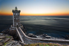 Kermorvan Lighthouse after sunset, Brittany, France Stock Photos