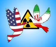 Kern de Overeenkomstenonderhandeling of Besprekingen van Iran met de V.S. - 2d Illustratie stock afbeeldingen
