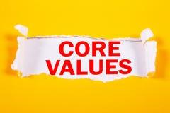 Kern-Werte, Geschäftsmoral-inspirierend Motivzitate stockbild