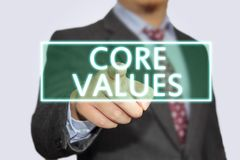 Kern-Werte, Geschäftsmoral-inspirierend Motivzitate lizenzfreie stockfotos