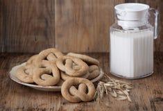 Kernachtig gebakken koekje en een kruik melk stock fotografie