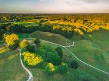 Kernave, историческая столица Литвы, воздушного взгляда сверху стоковое фото