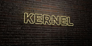 KERNEL -Realistic Neon Sign on Brick Wall background - 3D rendered royalty free stock image. Can be used for online banner ads and direct mailers Stock Photos
