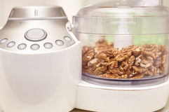 Kernel walnuts in a food processor Royalty Free Stock Photos