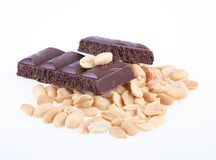 Kernels of the cleared nuts of a peanut and chocol Stock Images