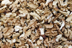 Kernels of nuts - the source of vitamins and minerals. Detail of the kernels of walnut - the source of vitamins and minerals stock images