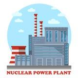 Kernenergieinstallatie met koeltoren en schoorsteen stock illustratie