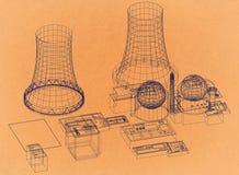 Kernenergieinstallatie - Reactor - Retro Architect Blueprint vector illustratie