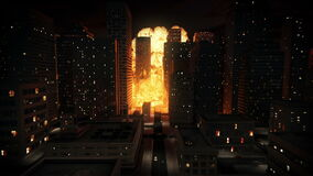 Kernexplosie in stad vector illustratie