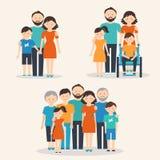 Kernfamilie, Familie mit Special benötigt Kind und Großfamilie Familien von verschiedenen Arten Stockbild