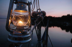 Kerosene lamp. At the boat royalty free stock images