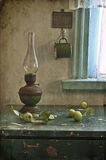 Kerosene lamp and apples Royalty Free Stock Photos