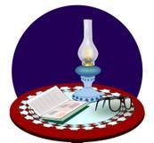 Kerosene Lamp, Book and Glasses. Stock Photos