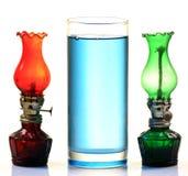 Kerosene oil and lamps. Over white background Stock Images