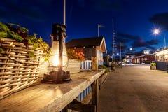 Kerosene old lamp glows at night royalty free stock photos