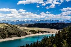 Kerr Dam, Seli'Š¡ Ksanka Qlispe' fördämning och den flathead floden Arkivfoton
