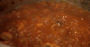 Kerrie die in een pan koken stock video