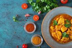 Kerrie met kip en uien Indisch voedsel Aziatische keuken stock foto