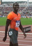 Kerron Clement. THESSALONIKI, GREECE - SEPT 12:Kerron Clement celebrates winning the men's 400m hurdles final at the IAAF 2009 World Athletics Final on Royalty Free Stock Images