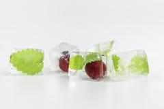 Kers en muntblad in ijsblokjes wordt bevroren dat Royalty-vrije Stock Afbeelding