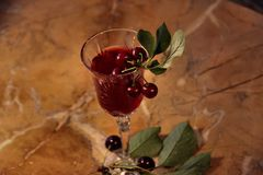 Kers en wijn Stock Fotografie
