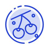 Kers, Fruit, Gezond, het Blauwe Pictogram van de de Gestippelde Lijnlijn van Pasen stock illustratie