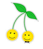 Kers smileys in liefde Stock Foto
