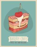 Kers Stuk illustratie van van cake (Gelukkige Verjaardagskaart) de zoete cupcakes, gegraveerde retro stijl, getrokken hand Stock Afbeelding