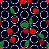 Kersen en aardbeien op zwarte achtergrond vector illustratie