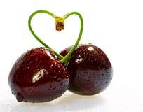 Kersen, hartvorm royalty-vrije stock foto's