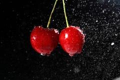 Kersen met waterdalingen op zwarte achtergrond Royalty-vrije Stock Afbeeldingen