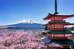 Kersenbloesems in de lente, Chureito-pagode en Fuji-berg in Japan stock afbeeldingen