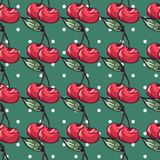 Kersenpatroon op stipachtergrond Royalty-vrije Stock Fotografie