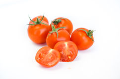 Kersentomaten en tomaat sause, deeg royalty-vrije stock foto