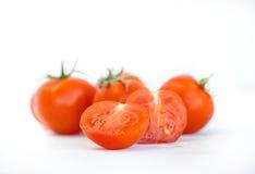 Kersentomaten en tomaat sause, deeg stock fotografie