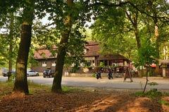 Kersko, Czech republic - July 07, 2018: brasserie Hajenka from czechoslovakia film Slavnosti Snezenek by director Jiri Menzel stan. D along road named Kerska Stock Images