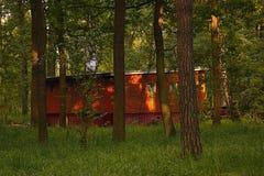 Kersko, Czech republic - July 07, 2018: legendary historical wooden cottage in Kersko tourist area during summer sunset Stock Images
