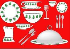 Kerst-servies Immagini Stock