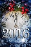 Kerstavond en Nieuwjaren bij middernacht Stock Afbeelding