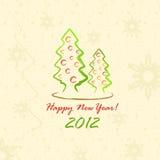 Kerstbomen 2012 (prentbriefkaar in schetsstijl) Stock Afbeelding