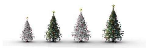 4 kerstbomen die met witte achtergrond verhogen Stock Foto