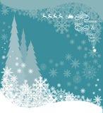 Kerstbomen en Santas-rendier royalty-vrije illustratie